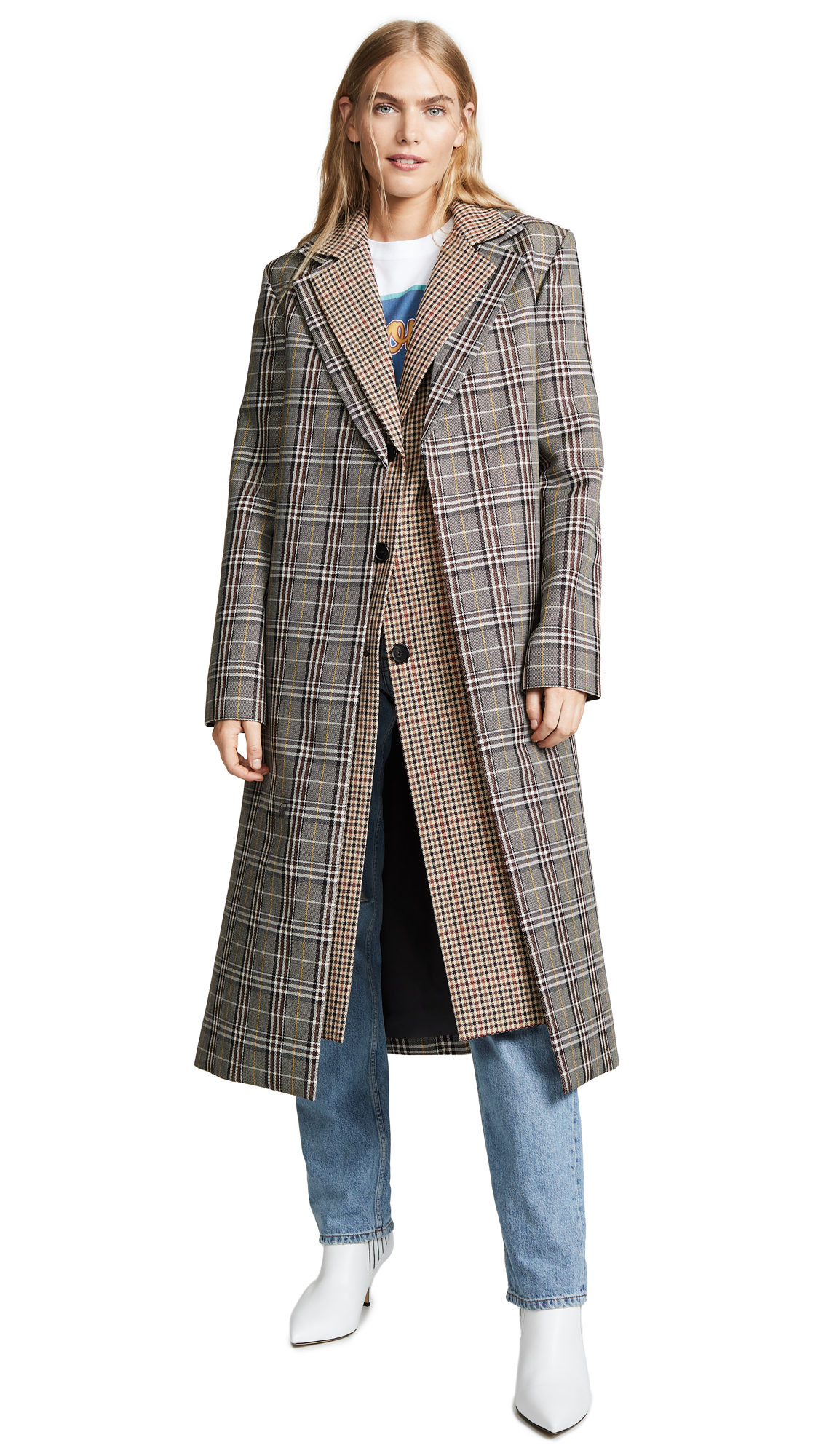 Monse Double Collar Coat In Plaid