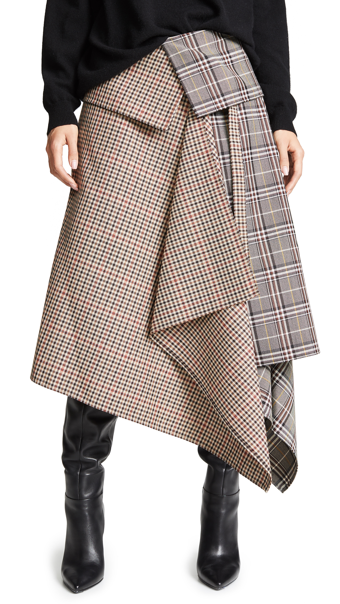 Asymmetric Paneled Checked Wool-Blend Midi Skirt, Plaid