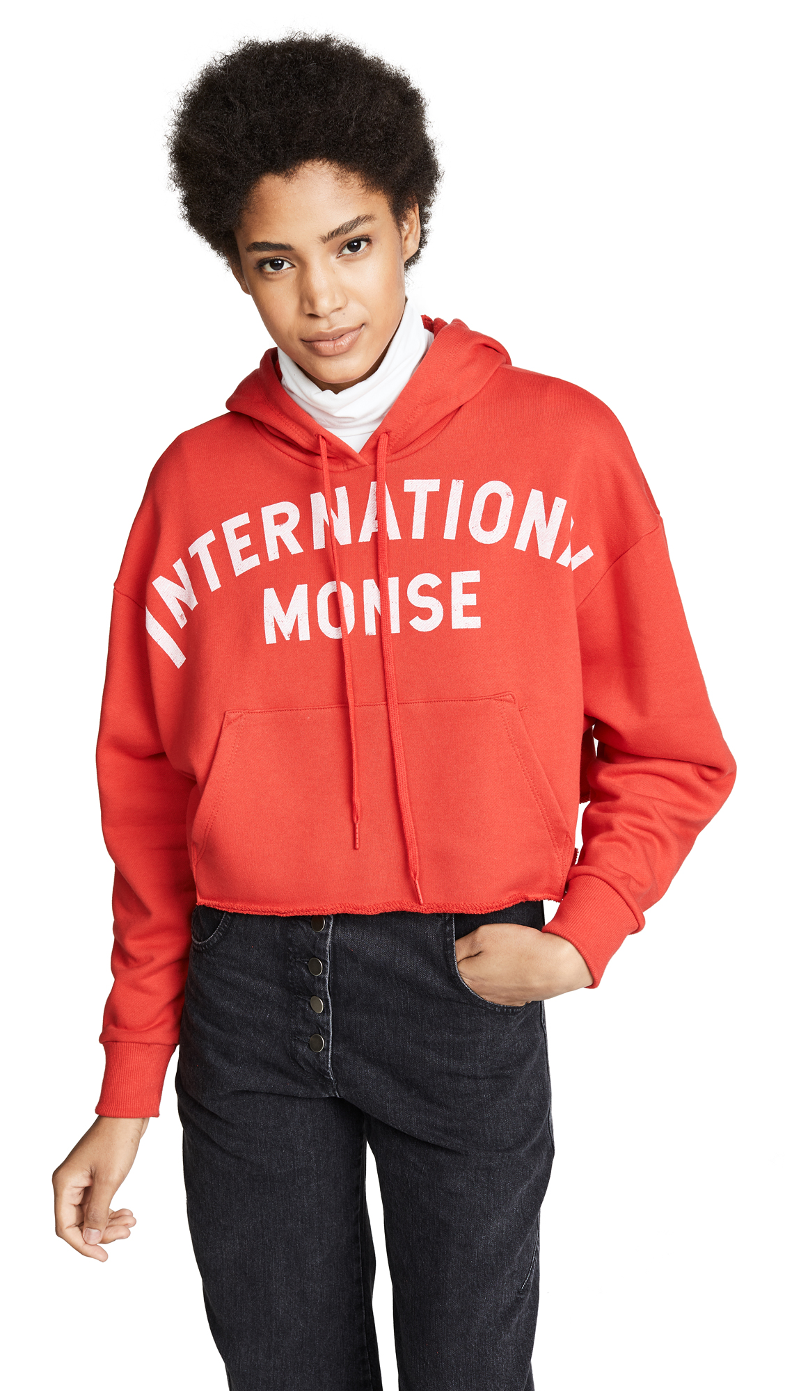 Monse Cropped Hoodie In Red