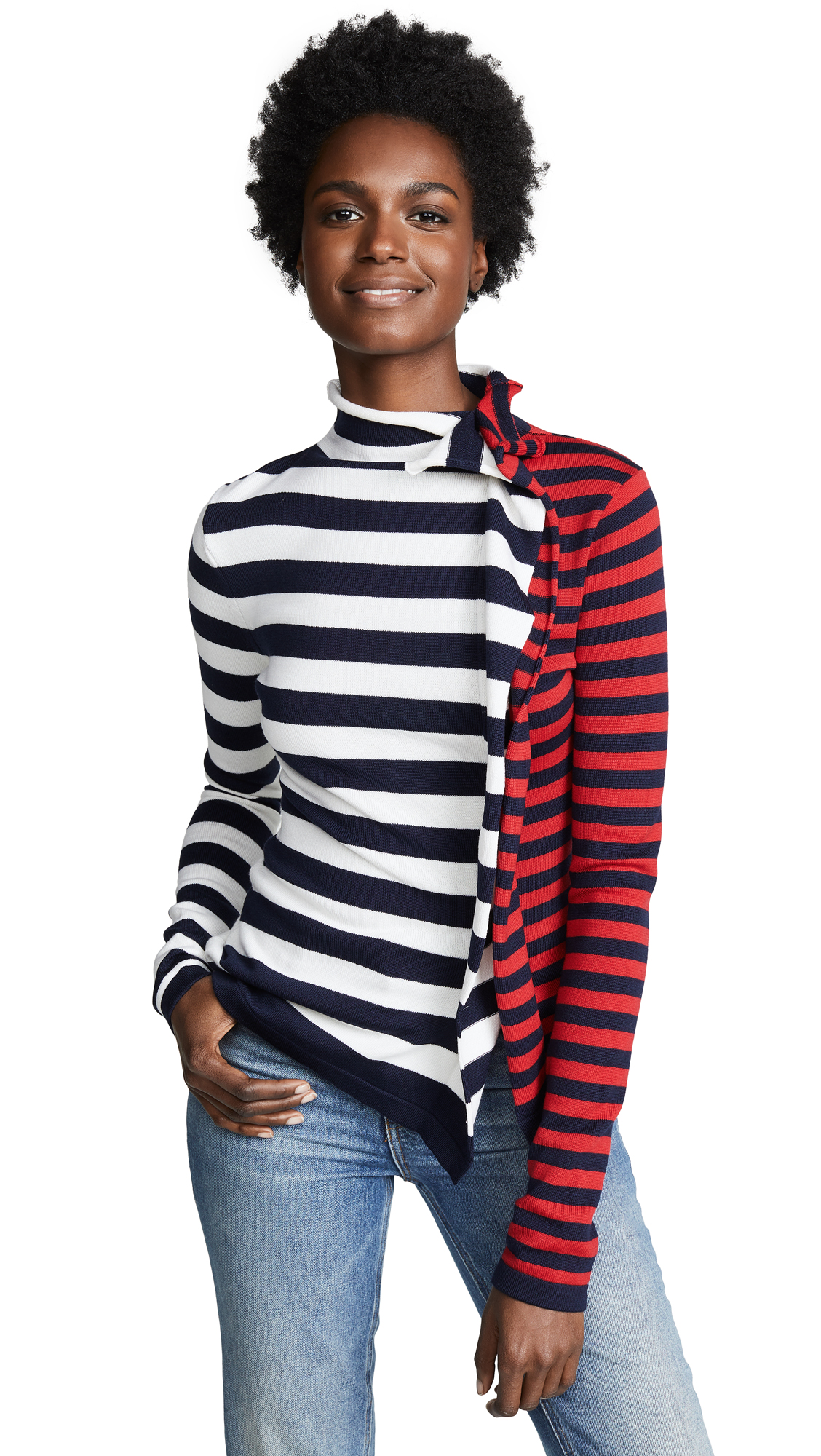 Ruffled Striped Wool-Jersey Turtleneck Sweater in White/Red/Navy
