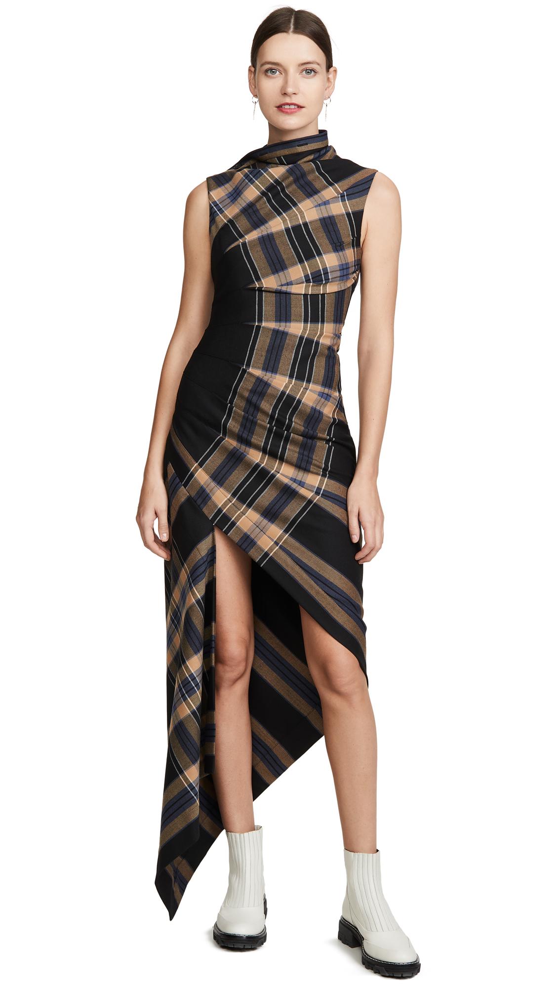 Buy Monse online - photo of Monse Plaid Pleated Sleeveless Dress