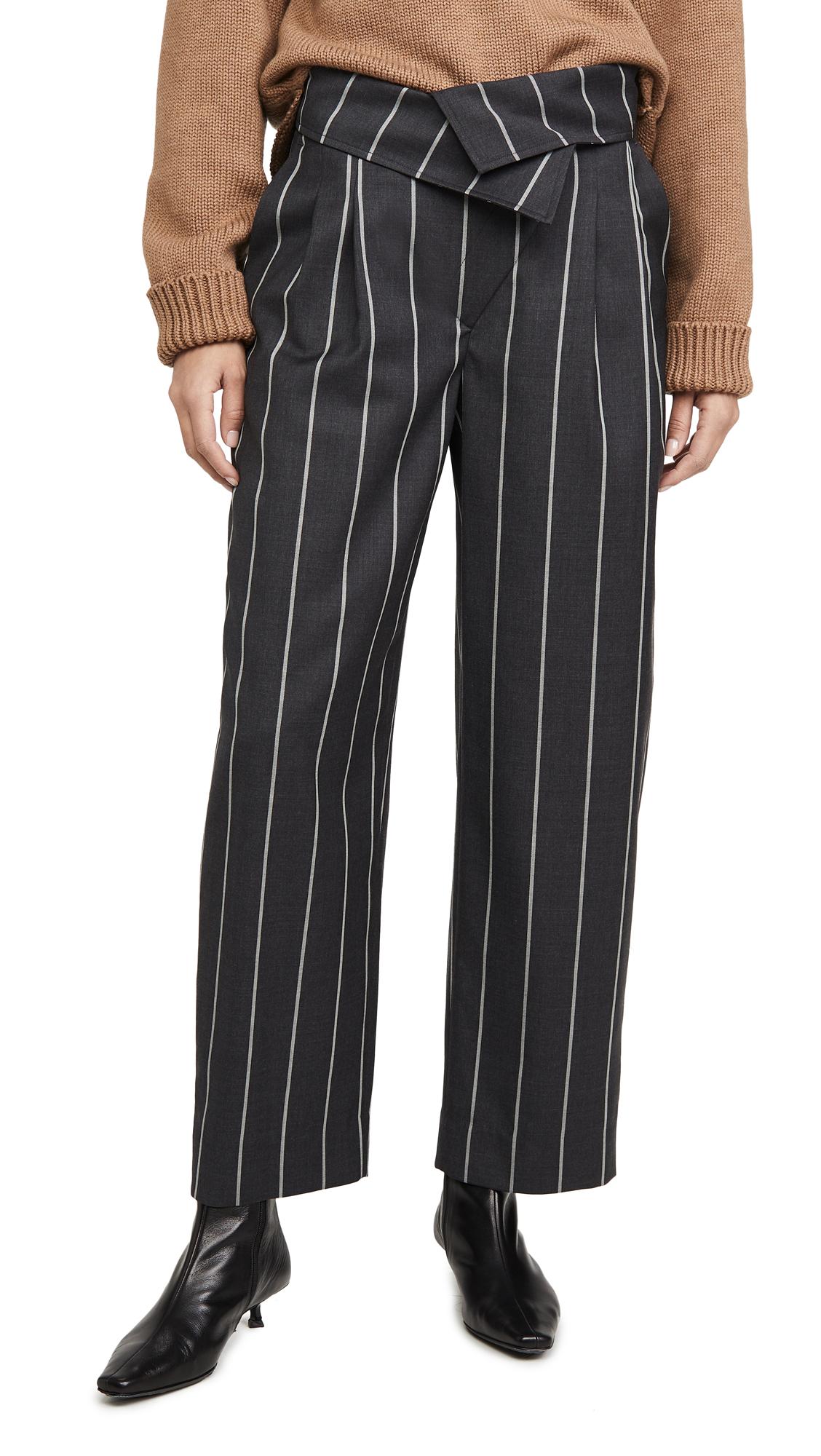 Buy Monse online - photo of Monse Pinstripe Fold Over Pants