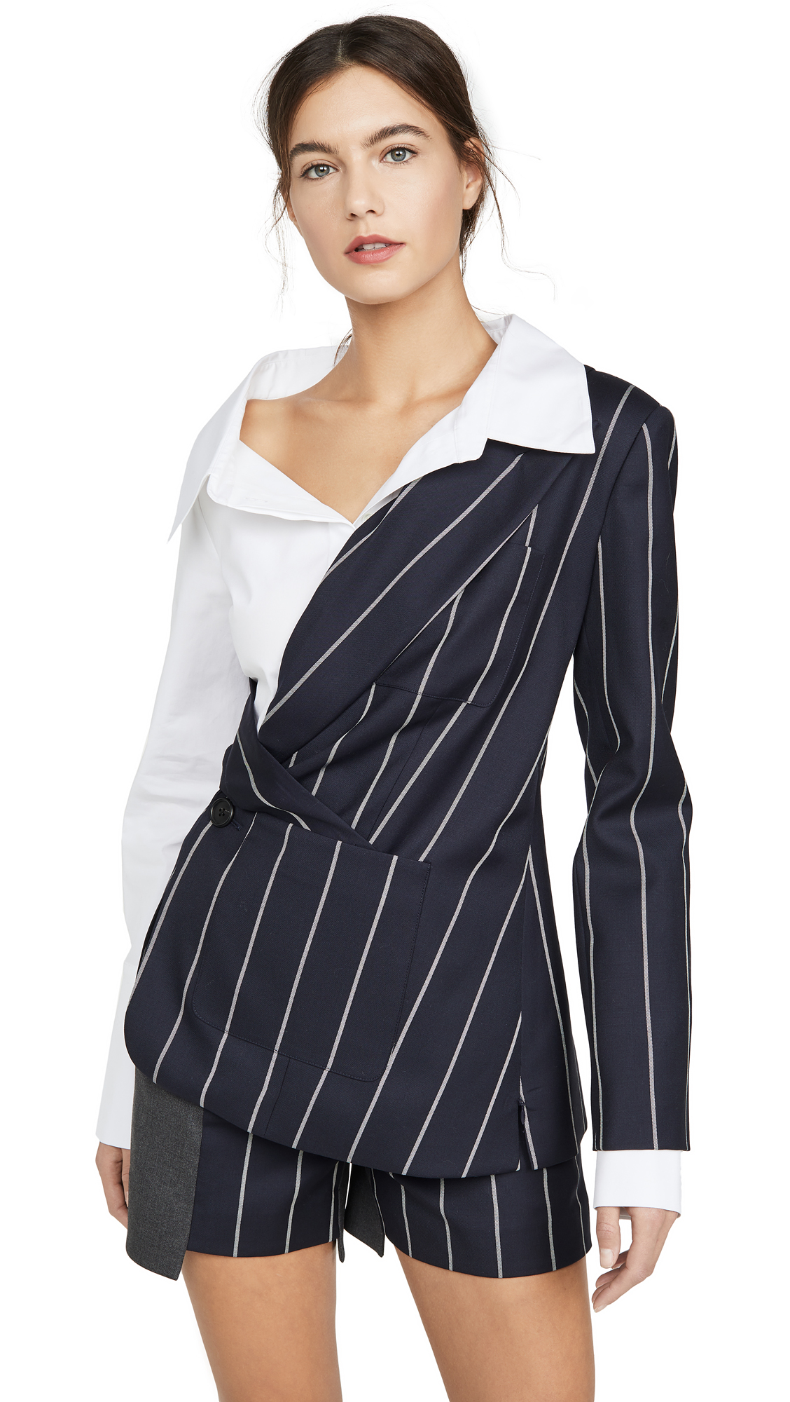 Monse Pinstripe Blazer Poplin Combo Top - 40% Off Sale