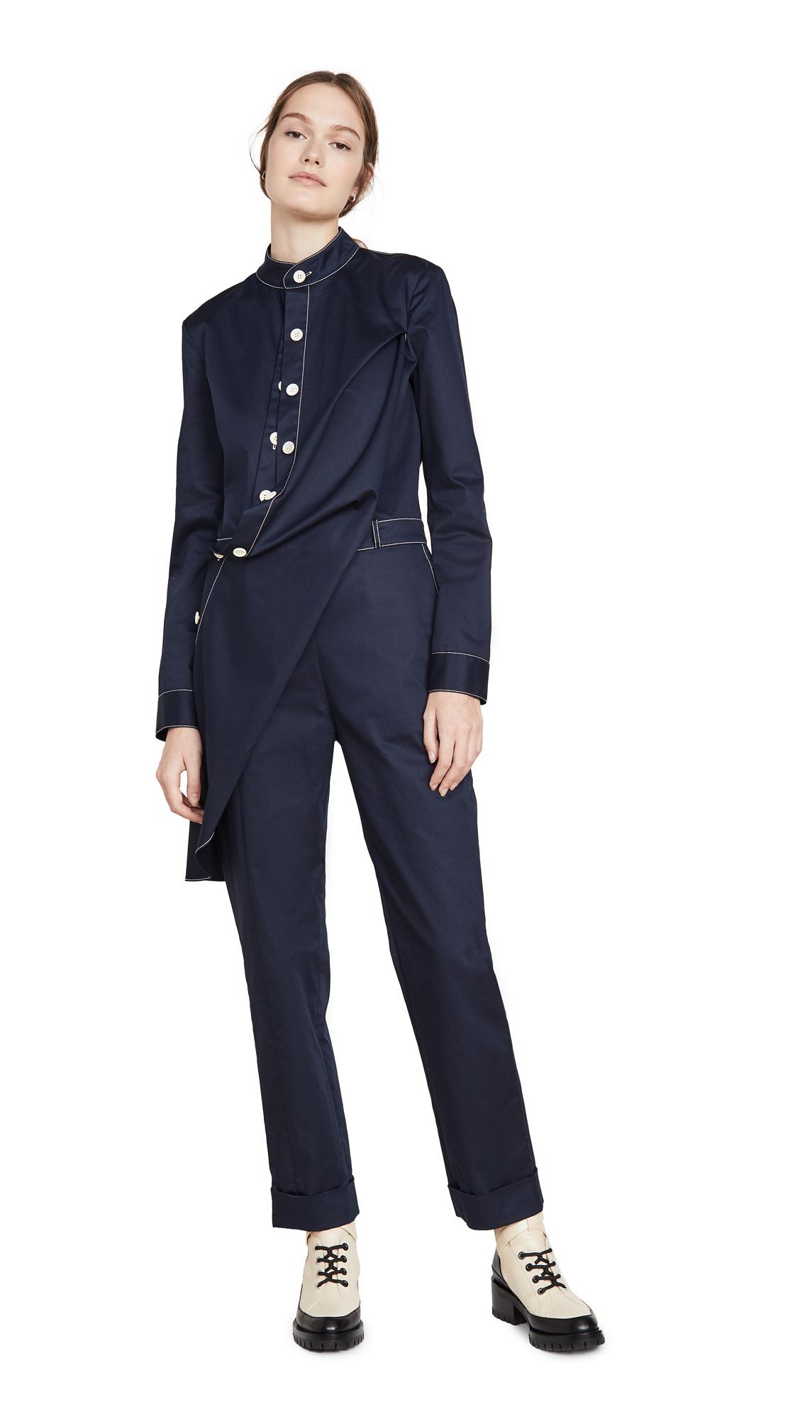 Buy Monse online - photo of Monse Twill Contrast Stitch Jumpsuit