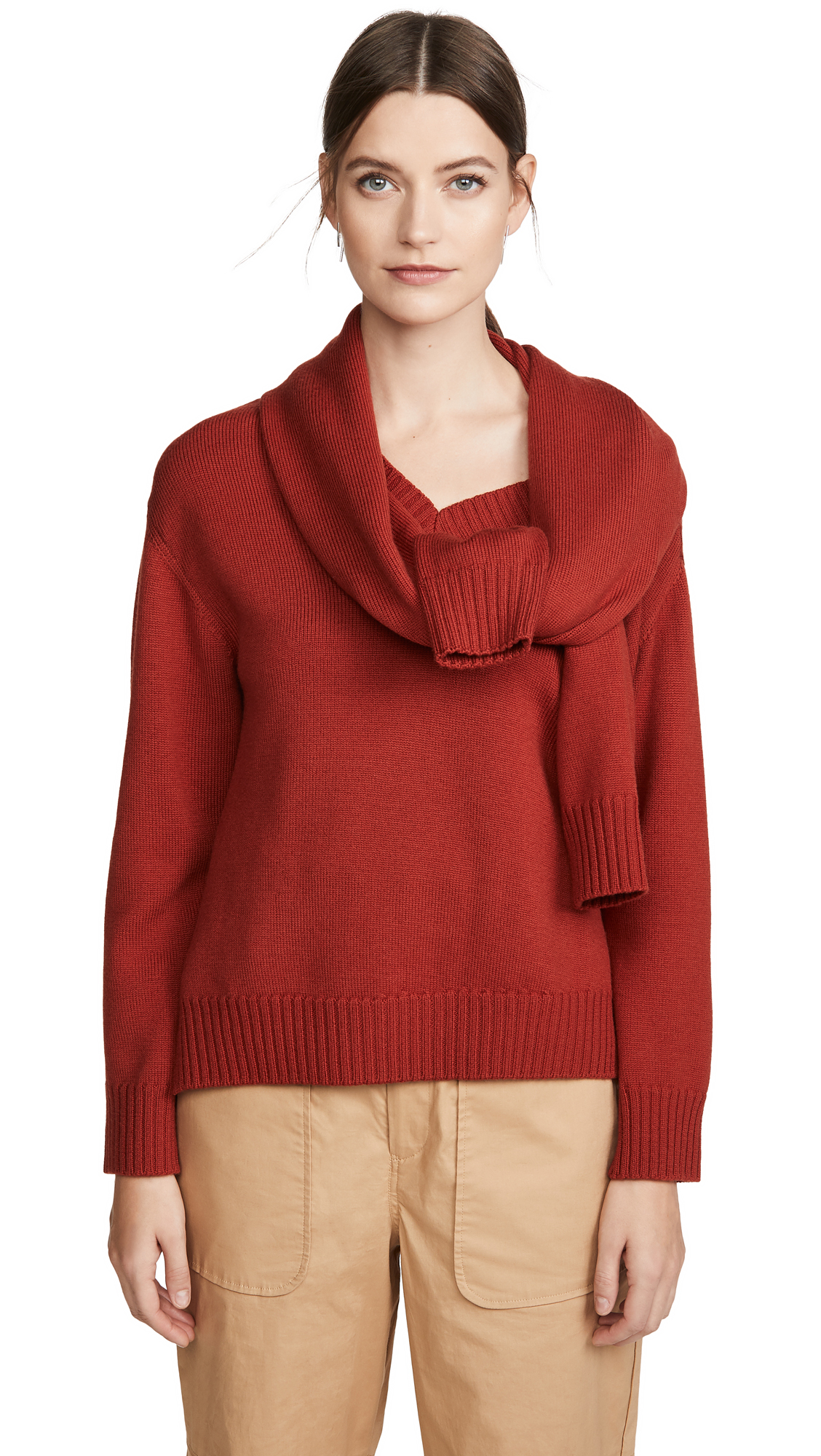 Buy Monse online - photo of Monse Tie Neck Cold Shoulder Sweater