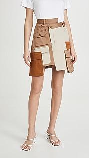 Monse Разноцветная мини-юбка с накладными карманами