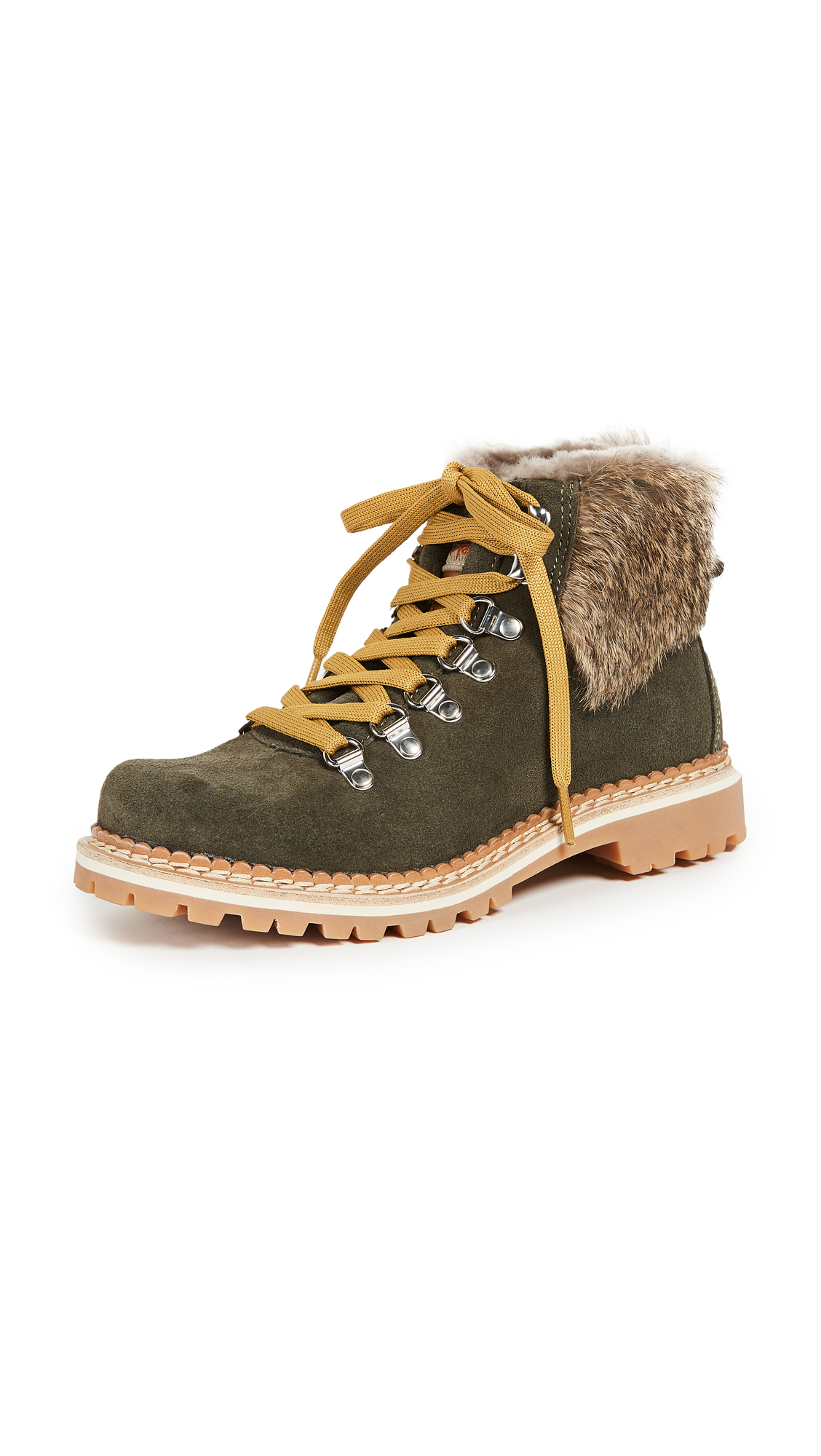 Montelliana Camelia Hiker Boots - Green/Natural