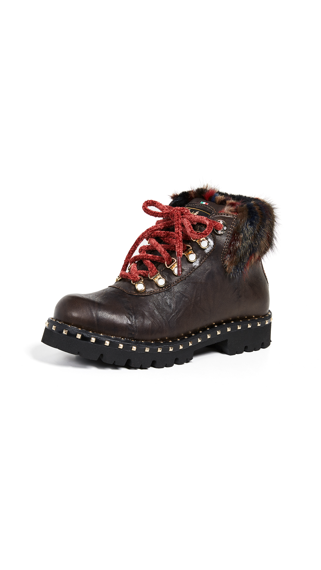 MONTELLIANA Nawra Hiker Boots in Dark Brown/Black