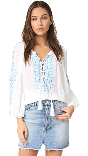Melissa Odabash Avalon Tunic In White/Blue