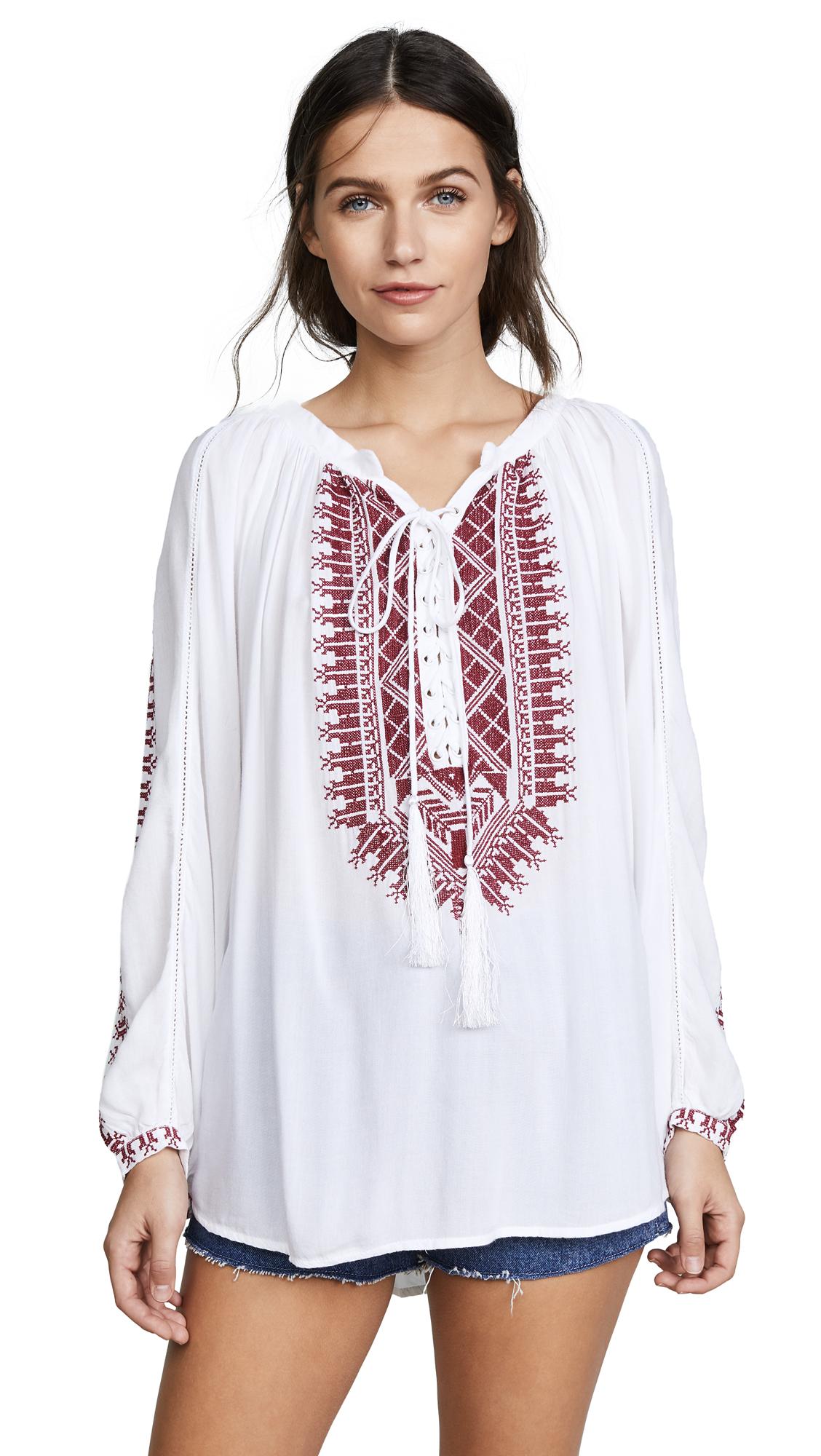 Melissa Odabash Simona Cover Up Top - White/Red