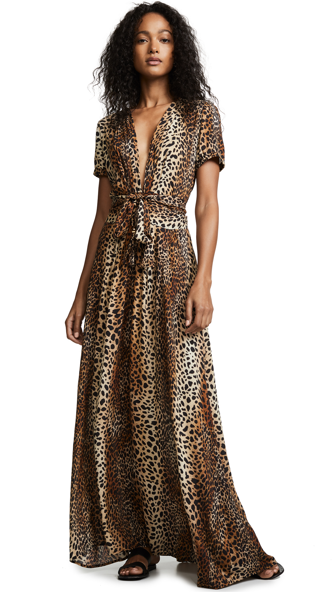 Melissa Odabash Lou Cheetah-Print Belted Short-Sleeve Maxi Dress In Tan