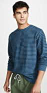 Mollusk Yarn Stripe Crew Neck Sweatshirt