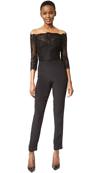 Monique Lhuillier Off Shoulder Jumpsuit - Noir