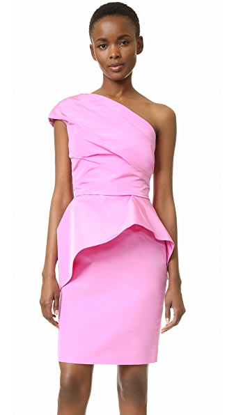 Monique Lhuillier One Shoulder Peplum Dress