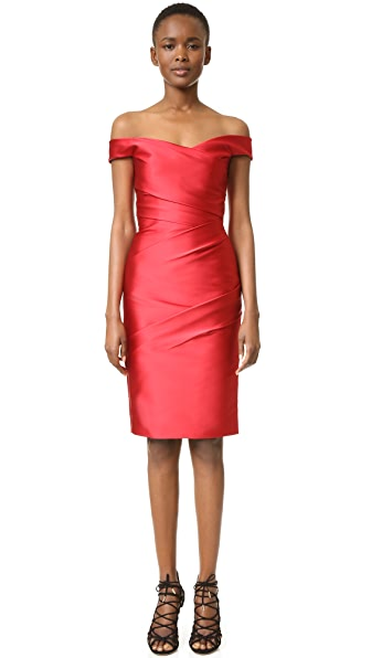 Monique Lhuillier Off Shoulder Dress - Dark Red