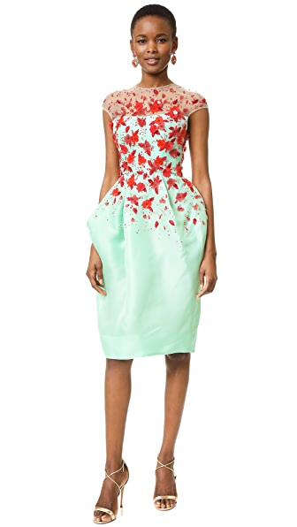 Monique Lhuillier Illusion Draped Dress - Seafoam/Red