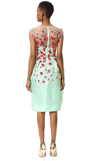 Monique Lhuillier Illusion Draped Dress