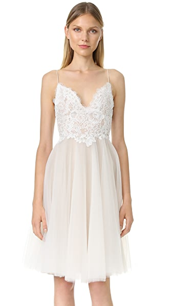 Monique Lhuillier Kylie V Neck Dress