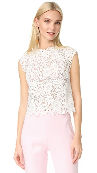 Monique Lhuillier Lace Sleeveless Shell