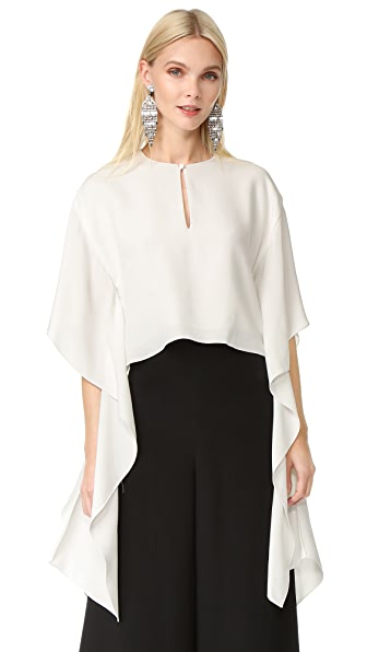 Monique Lhuillier Flutter Sleeve Top