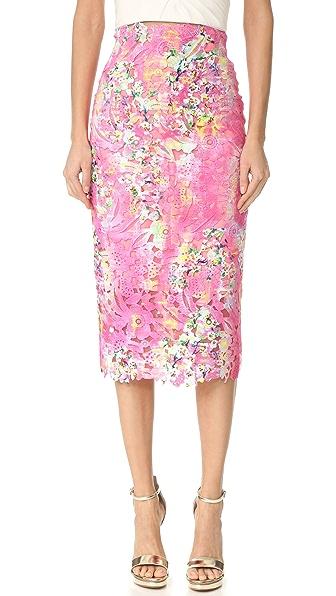 Monique Lhuillier Lace Pencil Skirt