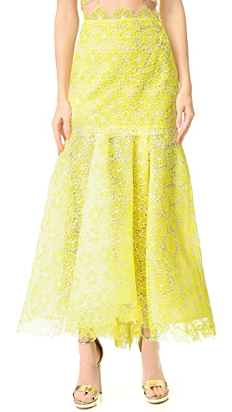 Monique Lhuillier Lace Trumpet Skirt