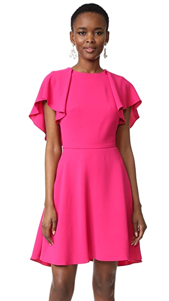 Monique Lhuillier Flutter Sleeve Dress In Magenta