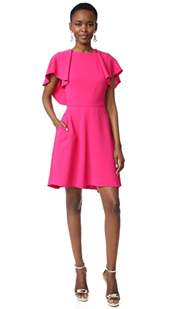 Monique Lhuillier Flutter Sleeve Dress
