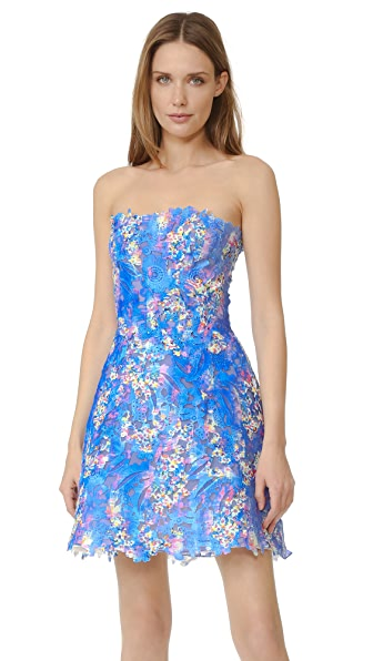 Monique Lhuillier Lace Strapless Dress