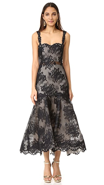 Monique Lhuillier Sleeveless Trumpet Dress - Noir/Nude