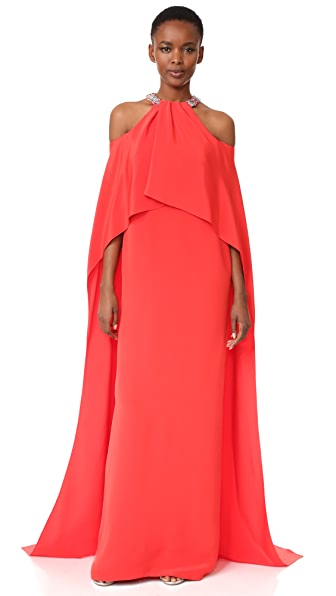 Monique Lhuillier Draped Halter Gown