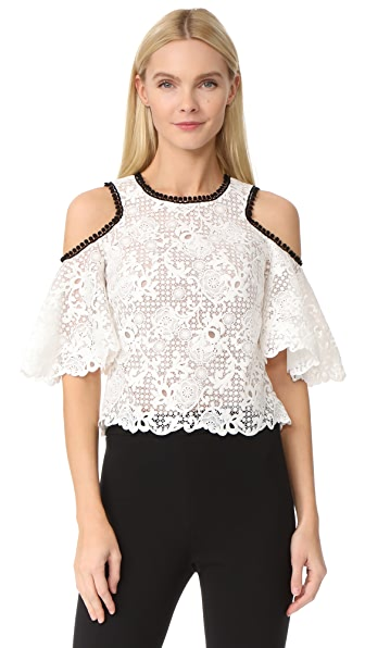 Monique Lhuillier Cutout Shoulder Top