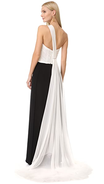 Monique Lhuillier One Shoulder Draped Top