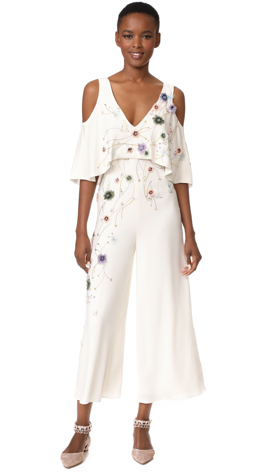 Monique Lhuillier V Neck Jumpsuit - Silk White