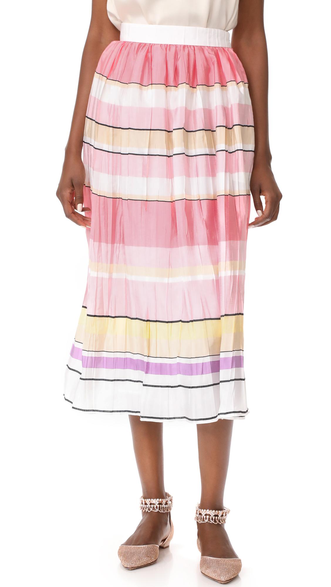 Monique Lhuillier Stripe Midi Skirt - Multi