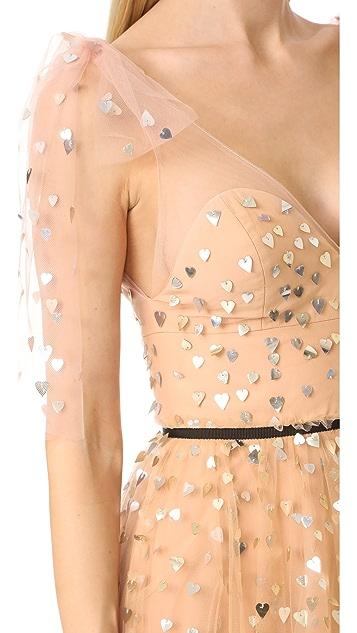 Monique Lhuillier V Neck Tulle Gown