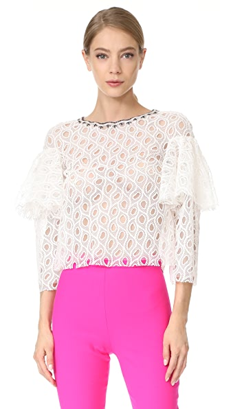 Monique Lhuillier Ruffled Blouse - Silk White