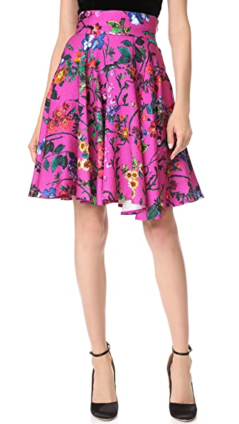 Monique Lhuillier Flared Skirt - Orchid Multi