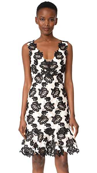 Monique Lhuillier Sleeveless Flounce Dress In Silk White/Noir