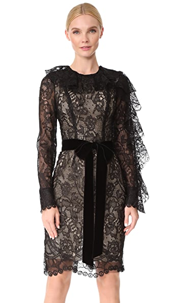 Monique Lhuillier Dress with Ruffle Sleeves - Noir