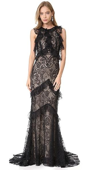 Monique Lhuillier Sleeveless Ruffle Gown In Noir