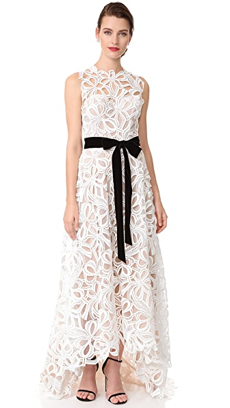 Monique Lhuillier Sleeveless High Low Gown
