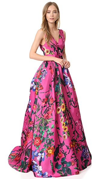 Monique Lhuillier Sleeveless V Neck Ball Gown - Orchid Multi
