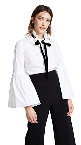 Monique Lhuillier Bell Sleeve Blouse In Silk White