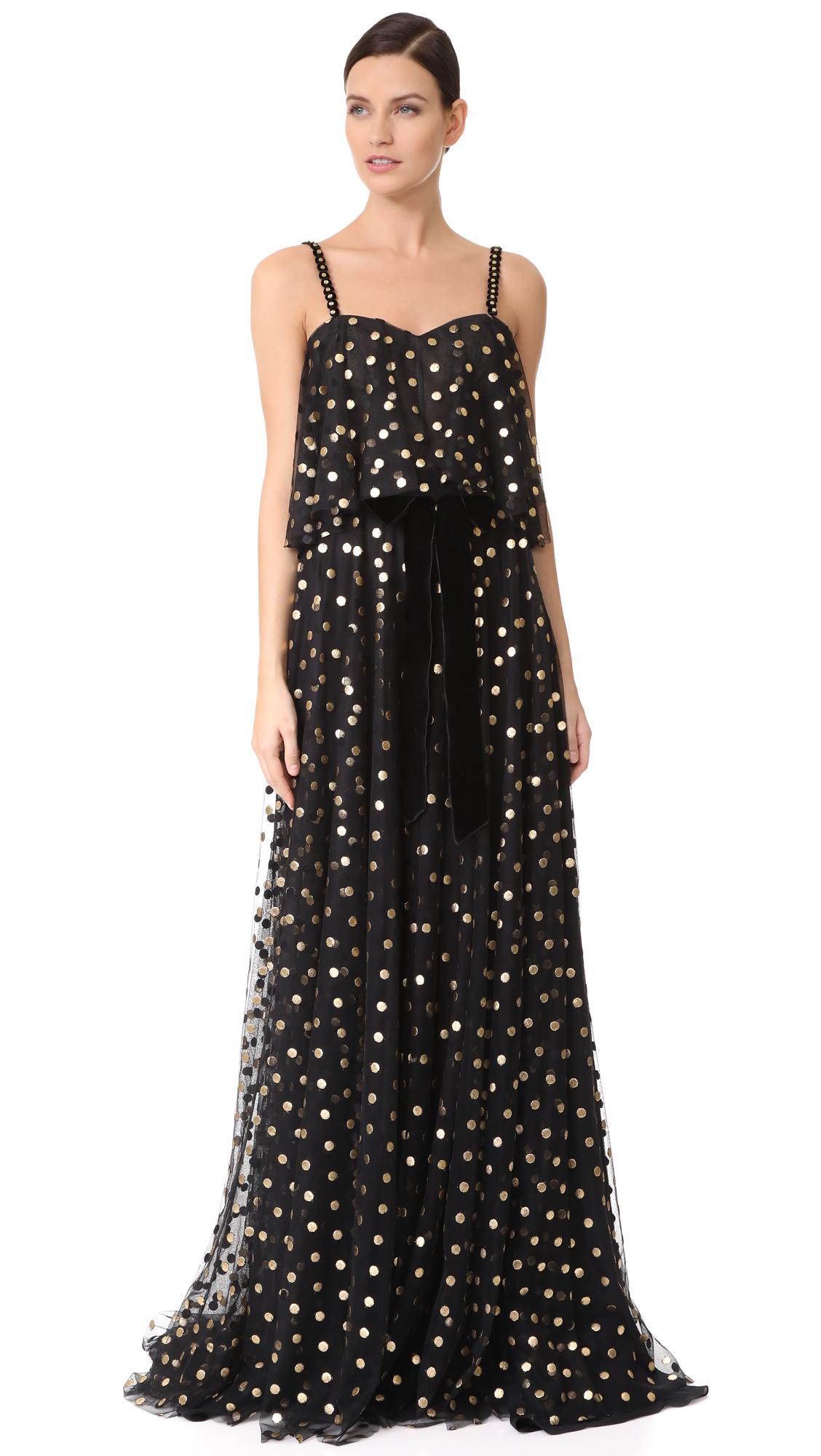 Monique Lhuillier Camisole Gown - Noir/Gold
