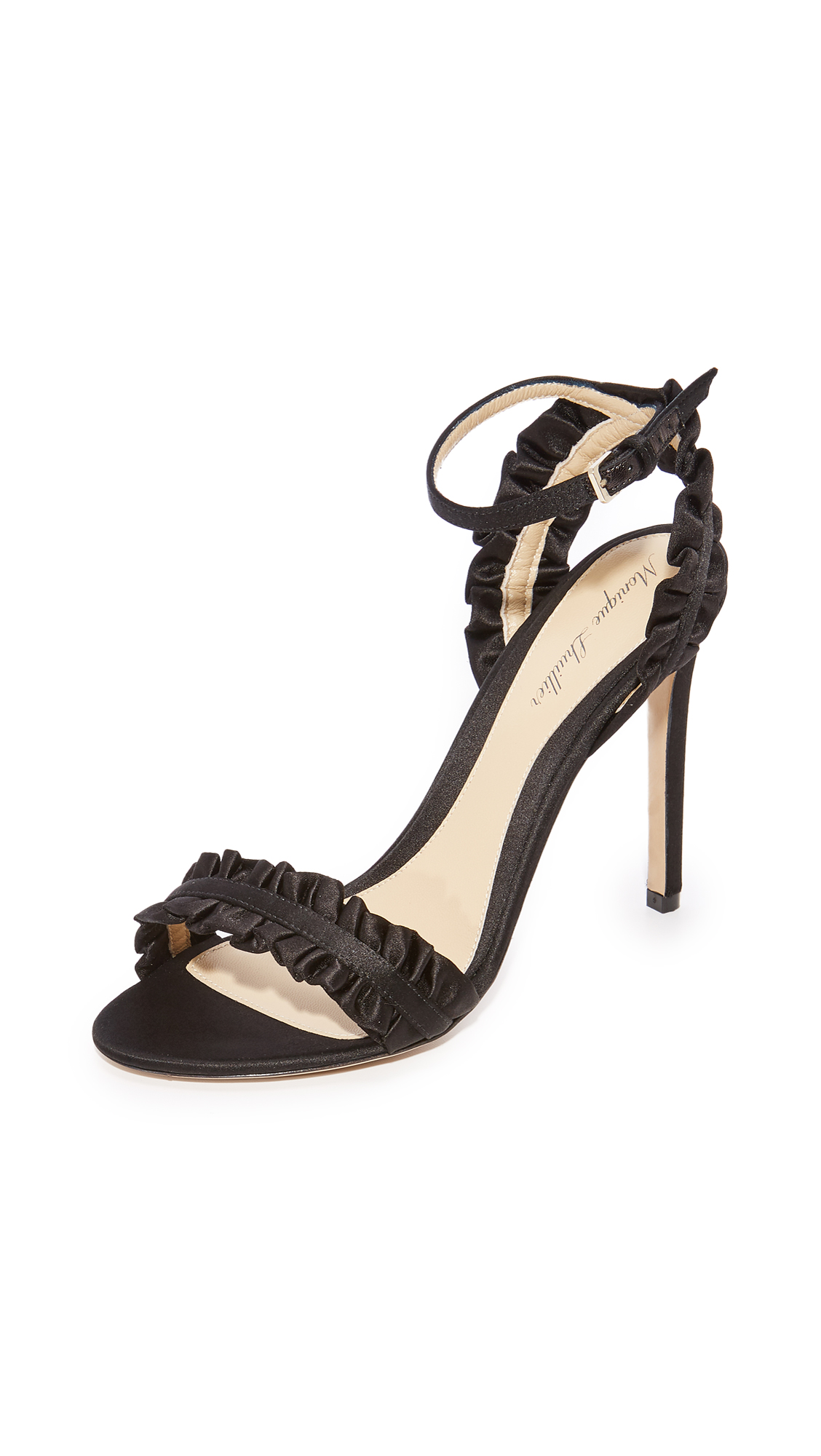 Monique Lhuillier ESME Ankle Strap Sandals - Noir
