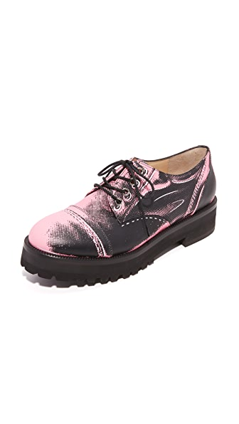 Moschino Leather Oxfords - Pink/Black at Shopbop