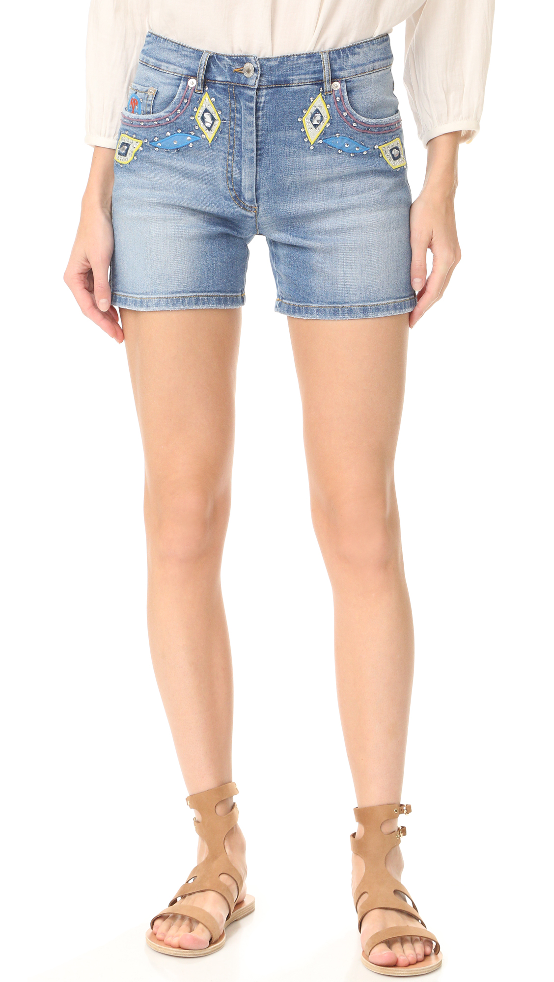 Moschino Denim Shorts - Light Blue at Shopbop