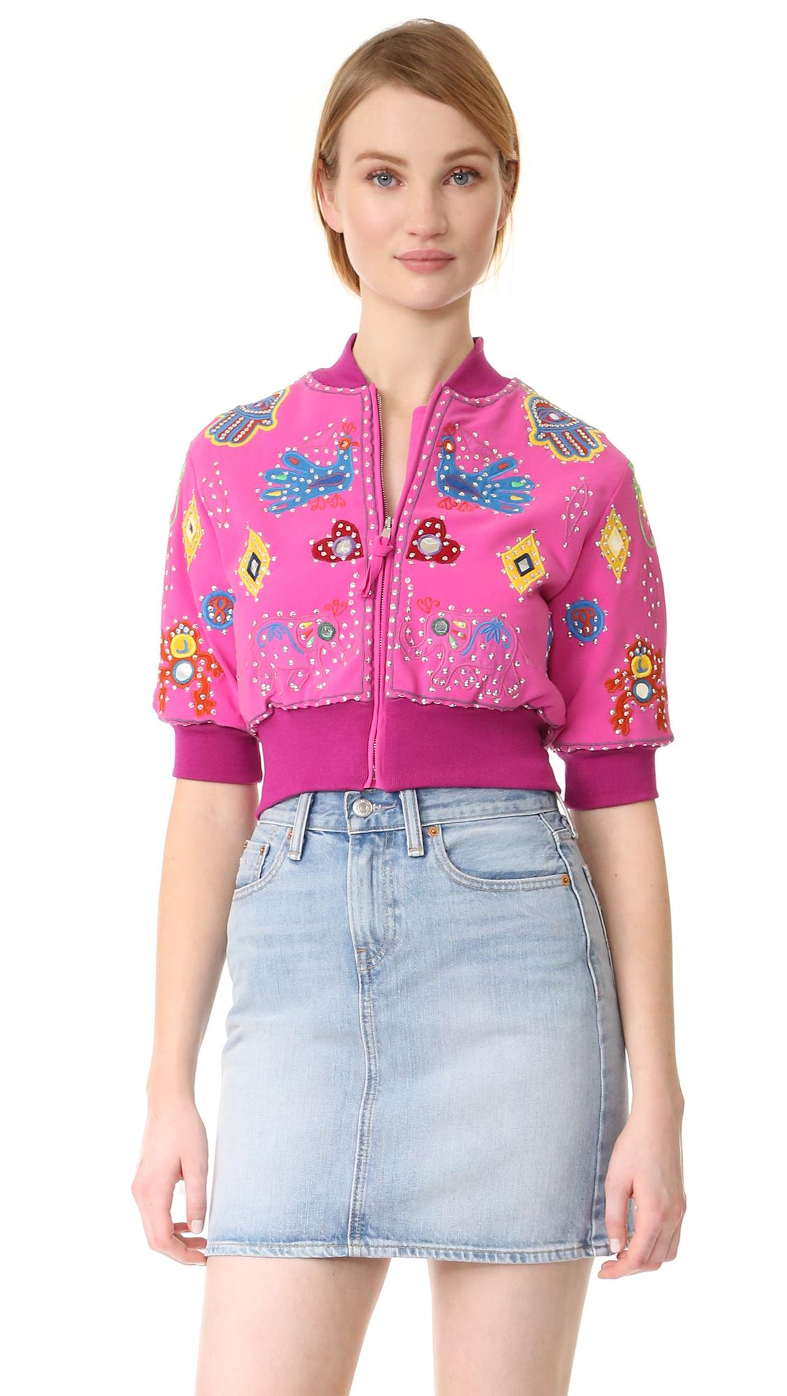 Moschino Cropped Jacket - Fantasy Print Violet at Shopbop