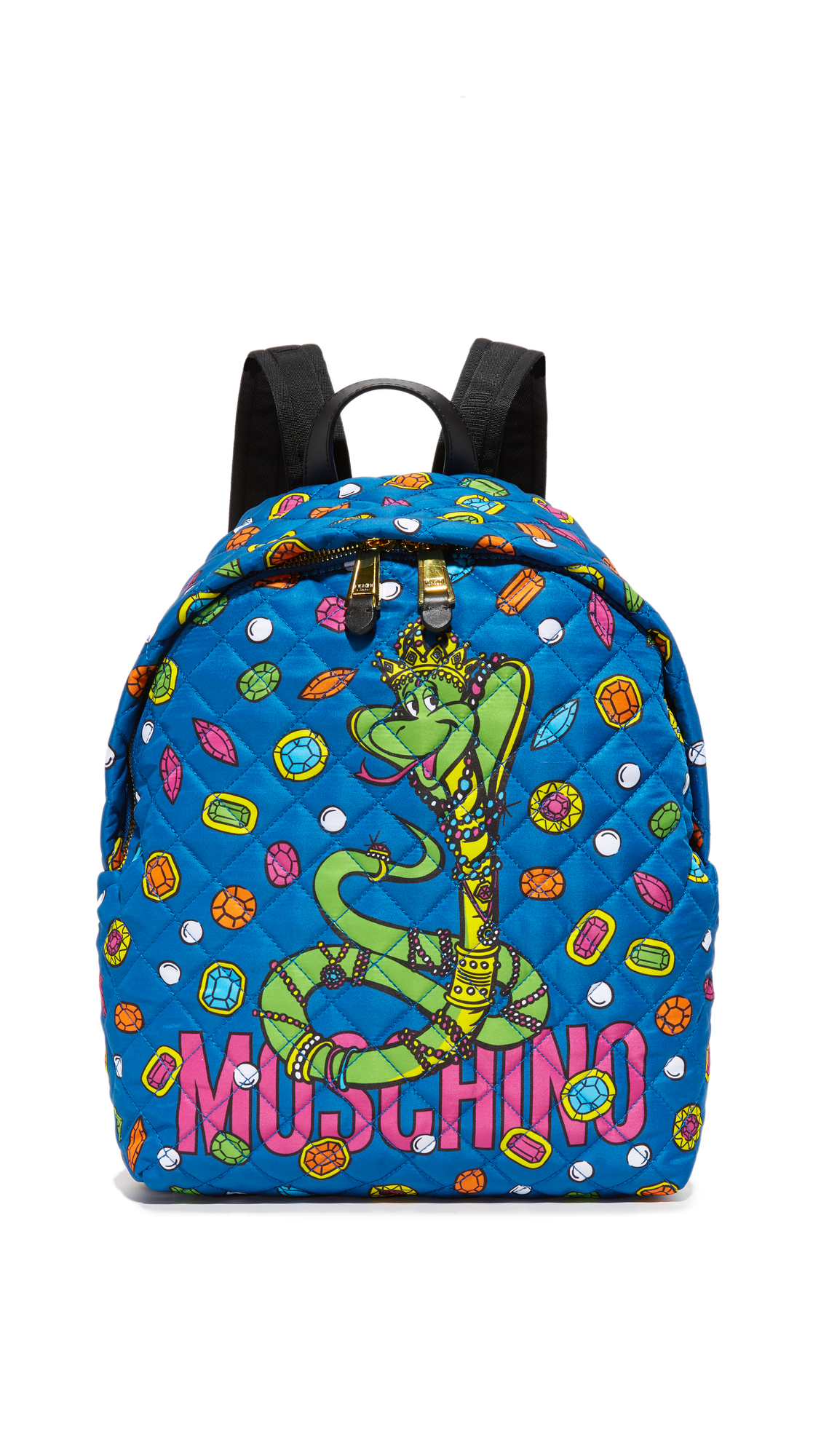A quilted nylon Moschino backpack with a bejeweled snake cartoon across the front. The 2 way top zip opens to a satin lined, 3 pocket interior. Top loop and adjustable shoulder straps. Fabric: Quilted nylon. Weight: 20oz / 0.57kg.